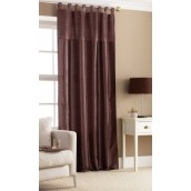 Brown Tab Top Embroidered Curtain panel
